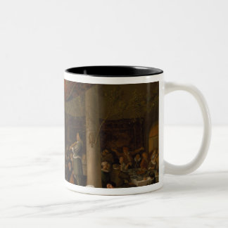 A Village Wedding Feast with Revellers Two-Tone Coffee Mug