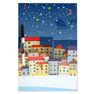 A village with christmas trees Dry-Erase board