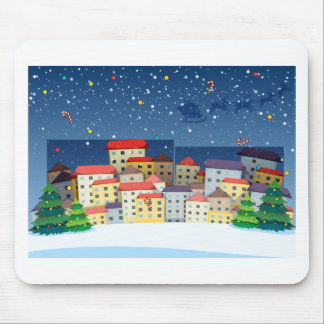 A village with christmas trees mouse pad