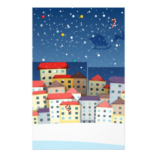 A village with christmas trees stationery