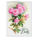 A Vintage Beauty's Birthday Pink Rose Garden Card