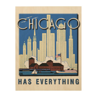 A Vintage Chicago Update Wood Wall Art