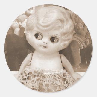 A Vintage Doll Affair Classic Round Sticker