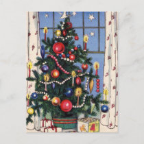 A Vintage  Happy Christmas Tree Holiday Postcard