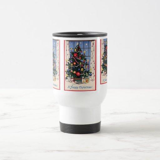 A Vintage  Happy Christmas Tree 15 Oz Stainless Steel Travel Mug