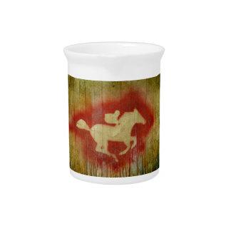 A vintage horse design red drink pitcher