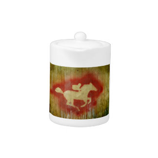 A vintage horse design red teapot