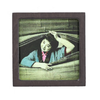 A Vintage Japanese Geisha Peeking Through a Blind Jewelry Box