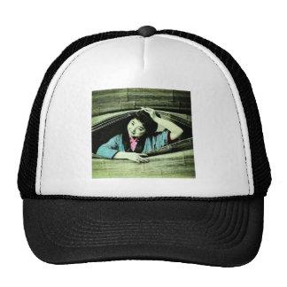 A Vintage Japanese Geisha Peeking Through a Blind Trucker Hat