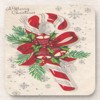 A Vintage Merry Christmas Candy Cane Beverage Coaster