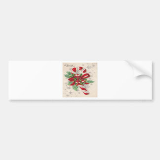 A Vintage Merry Christmas Candy Cane Bumper Sticker