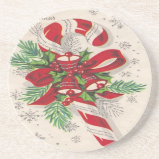 A Vintage Merry Christmas Candy Cane Drink Coaster