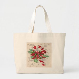 A Vintage Merry Christmas Candy Cane Large Tote Bag
