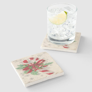 A Vintage Merry Christmas Candy Cane Stone Coaster