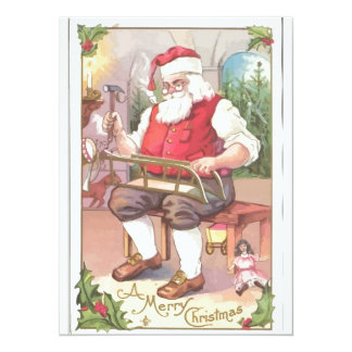 A Vintage Merry Christmas Santa Claus in his Works Custom Announcement