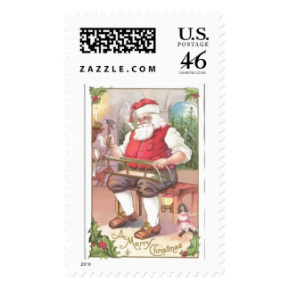 A Vintage Merry Christmas Santa Claus in his Works Stamp