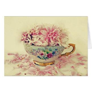 A Vintage Teacup of Flowers Card