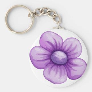 A violet flower basic round button keychain