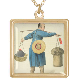 A Viper Seller, plate 46 from 'The Costume of Chin Gold Plated Necklace
