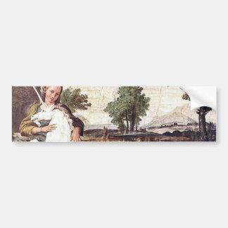 A Virgin with a Unicorn by Domenico Zampieri Bumper Sticker