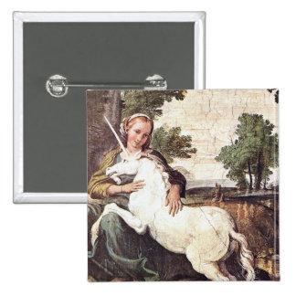 A Virgin with a Unicorn by Domenico Zampieri Button