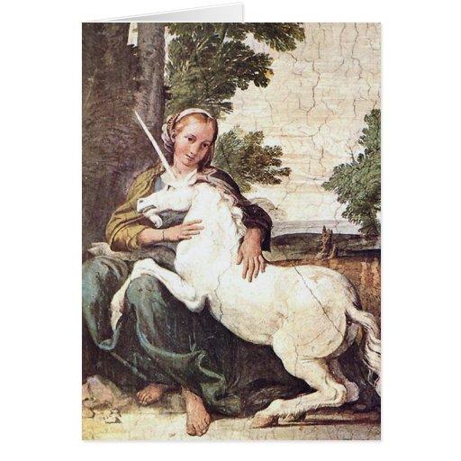 A Virgin with a Unicorn by Domenico Zampieri Cards