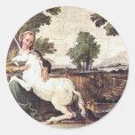 A Virgin with a Unicorn by Domenico Zampieri Classic Round Sticker