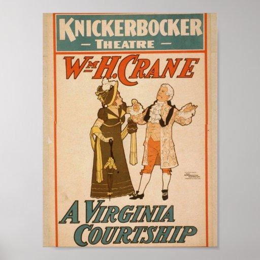 A Virginia Courtship, WmH.Crane Retro Theater Poster