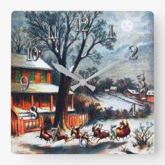 A Visit From St.Nicholas Christmas Square Wall Clock