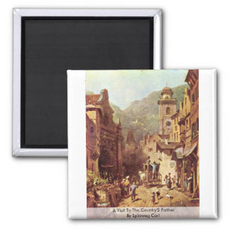 A Visit To The Country'S Father By Spitzweg Carl Refrigerator Magnets