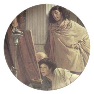 A Visit to the Studio, 1873 (oil on canvas) Dinner Plate