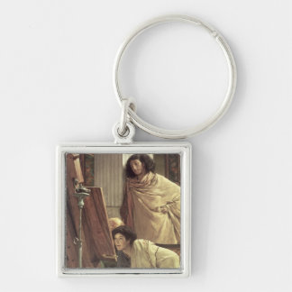 A Visit to the Studio, 1873 (oil on canvas) Silver-Colored Square Keychain