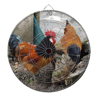 A Vorwerks Chicken pair, Rooster and Hen Eating Dartboards