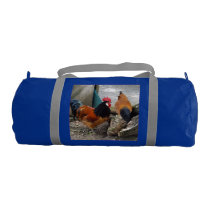 A Vorwerks Chicken pair, Rooster and Hen Eating Duffle Bag