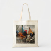 A Vorwerks Chicken pair, Rooster and Hen Eating Tote Bag
