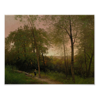 A Walk along a Path at Sunset by Hermann Herzog Poster