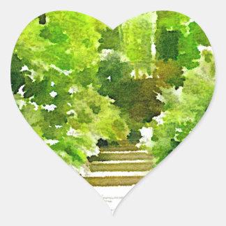 A Walk Among the Ferns Heart Sticker