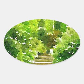 A Walk Among the Ferns Oval Sticker