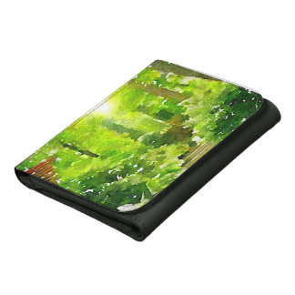 A Walk Among the Ferns Leather Trifold Wallets