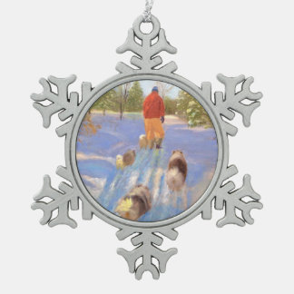 A Walk in the Forest Pewter Snowflake Ornament