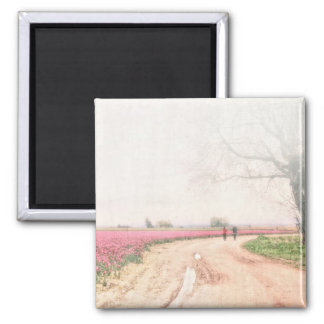 A Walk Through the Tulip Field 2 Inch Square Magnet
