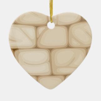 A wall made of bricks ceramic heart ornament