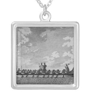 A War Canoe of New Zealand Square Pendant Necklace