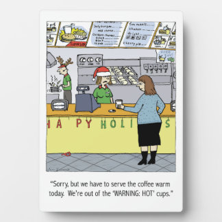 A Warm Coffee Christmas - Funny Holiday Cartoon Plaque