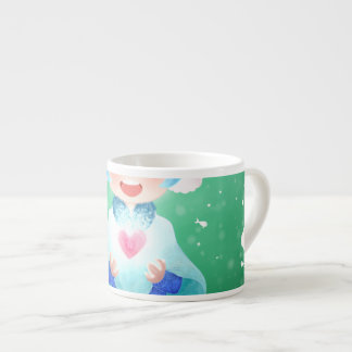 A warm smile with the heart of a little girl espresso cup