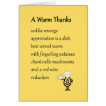 A Warm Thanks - a funny thank you poem Greeting Cards