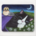 A Watchful Eye | Fantasy Tuxedo Cat Art Mouse Pad