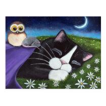 A Watchful Eye | Fantasy Tuxedo Cat Art Postcard
