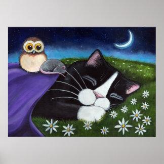 A Watchful Eye   Fantasy Tuxedo Cat Art Poster