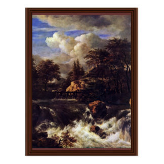 A Waterfall In A Rocky Landscape By Ruisdael Jacob Postcard